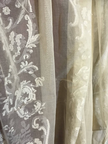 "Siobhan cream Cotton Lace Madras Curtain Panelling 68""/50""long"