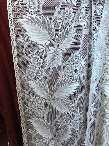 Edwardiana leaves - Victorian Style White Cotton Lace Curtain Panelling 1.5 m 60