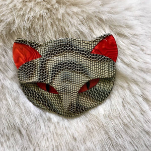 Lea Stein Cat face brooch