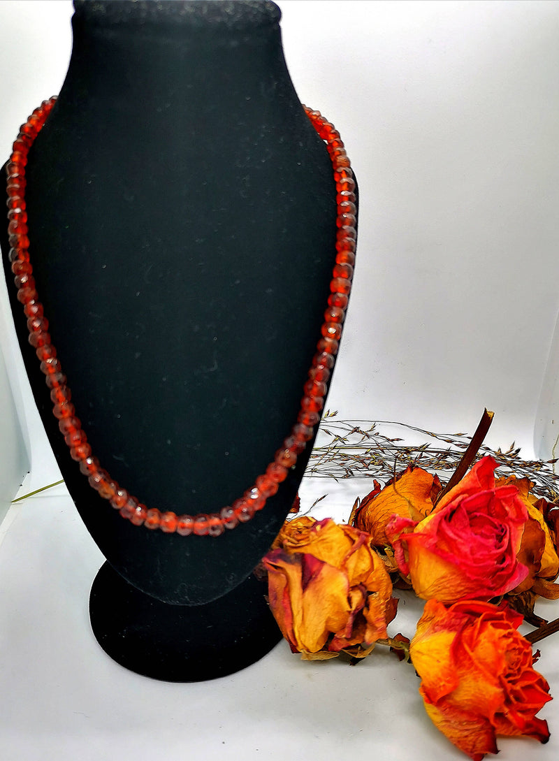 New Hessonite Garnet (Rnd) Beads Necklace (Size 20) with Magnetic Lock in Rhodium Overlay Sterling Silver 120.00 Ct.