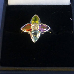 Silver Mixed Stone Ring Size N