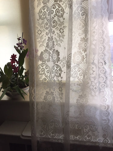 Victorianna Spray- Victorian design Cream Cotton Lace Curtain Panelling By The Metre- Width 90 cms