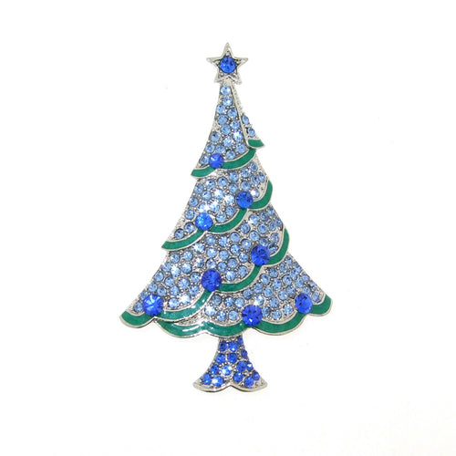 Christmas Tree Brooch blue with star