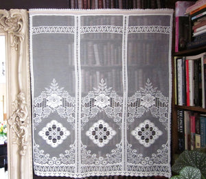 """Victoria"" Vintage Heritage Design Cream Cotton Lace Curtain -2 panels 34""x 45 Inches"