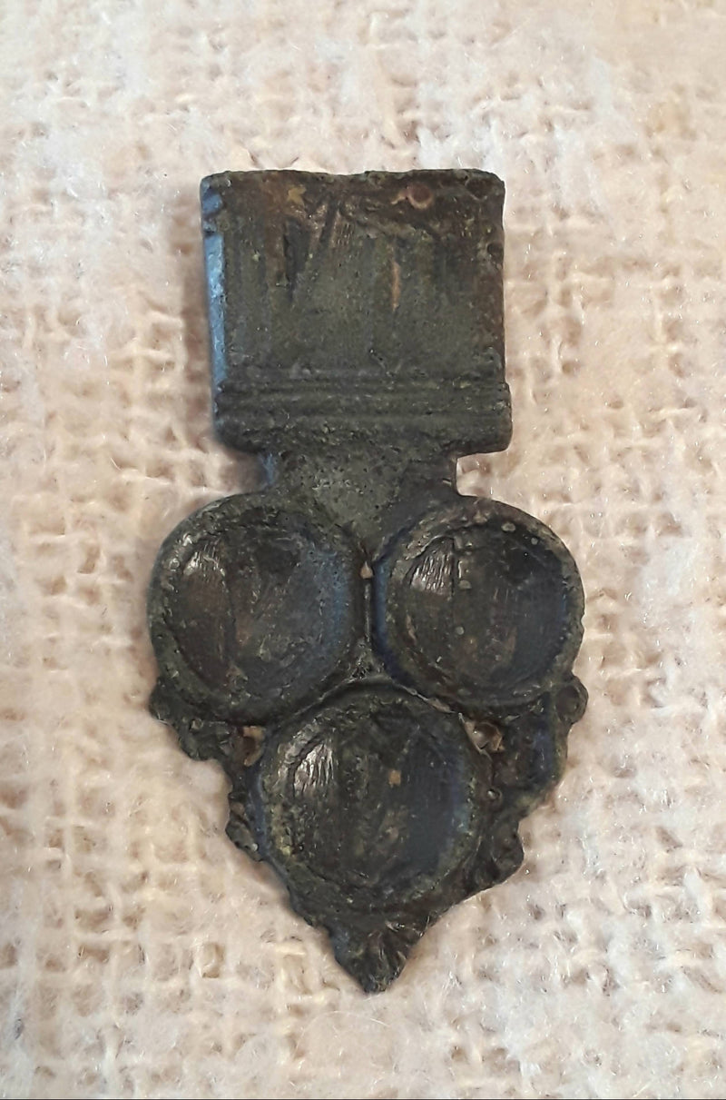 A Large Medieval Decorated Bronze Strap End.