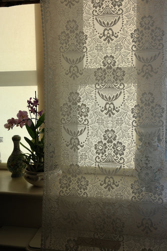 Portia - Victorian Style white Cotton Lace Curtain Panelling By The Metre- Width 115cms - 44