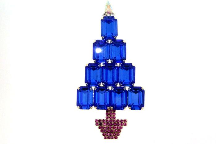 A Large Blue Christmas Tree brooch/ Pin