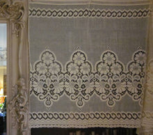 """Beatrice"" Vintage Art Deco Beige Cotton Lace Curtain Panel Made In Scotland- 100 x 36 Inches"