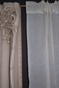 "Vintage classic Design ""Polka Dot"" cream Madras Cotton Lace Curtain Panel - 64"" x 28"" .7m"