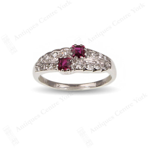 1970's 18ct White Gold Ruby & Diamond Ring