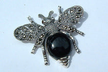 Silver Black Bee Brooch Marcasite pin