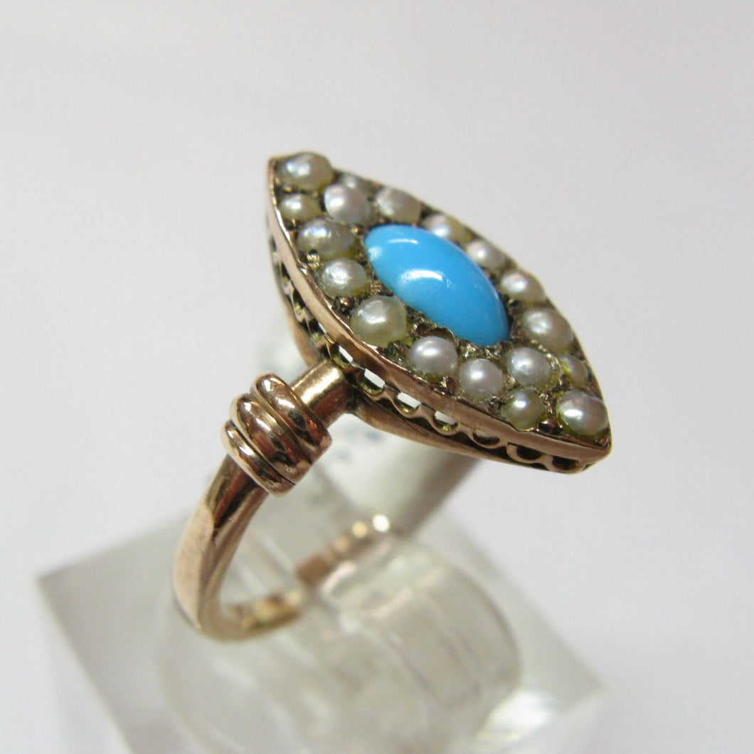 Antique Gold Turquoise & Pearl