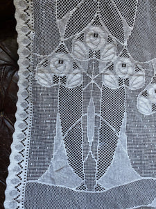 "Rennie Mackintosh"" Arts and crafts white cotton lace Curtain Panel 60""/63"""
