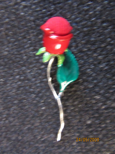 Unusual Sterling Silver & Red Enamel Rose pin cushion