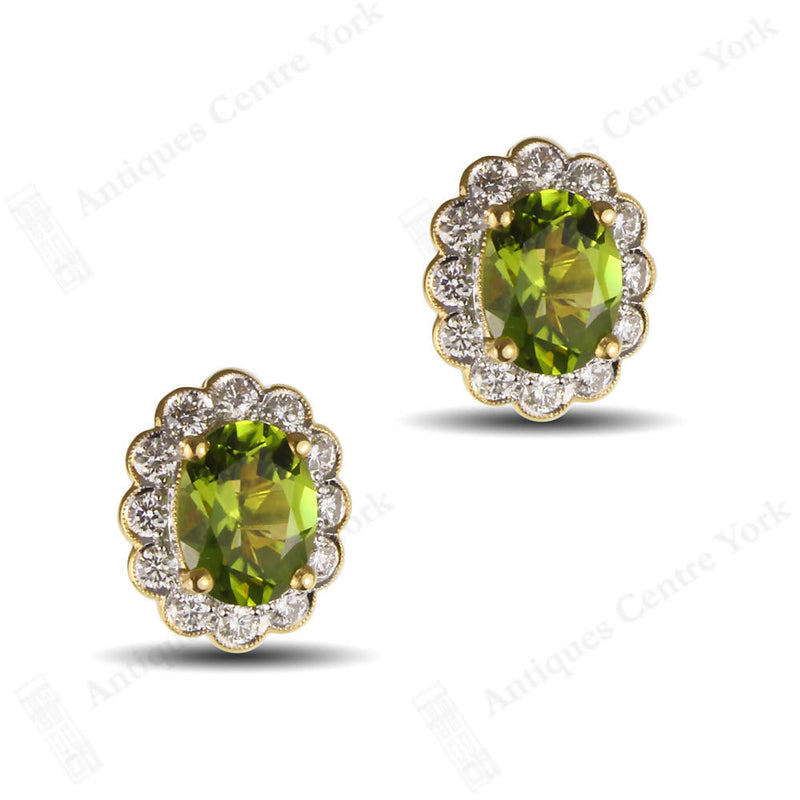 18ct Peridot & Diamond Oval Cluster Earrings