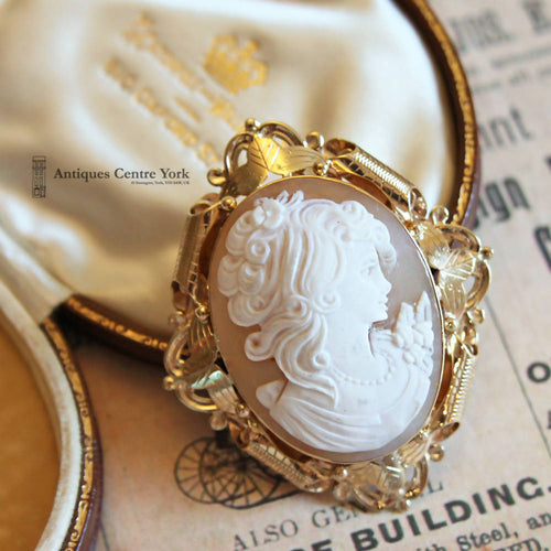 1980's 9ct Gold Cameo Brooch