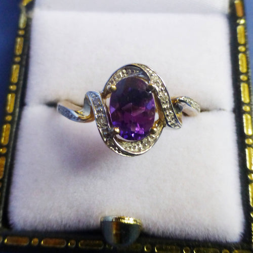 9ct Yellow Gold Amethyst and Diamond Ring Size M + 1/2