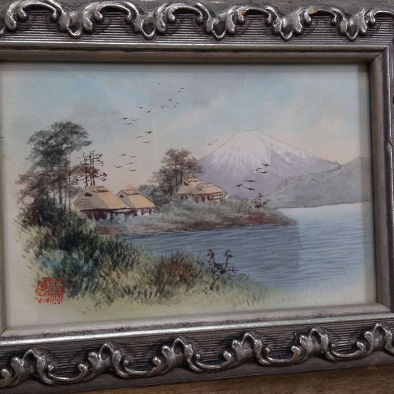 Japanese watercolour of Mount Fuji