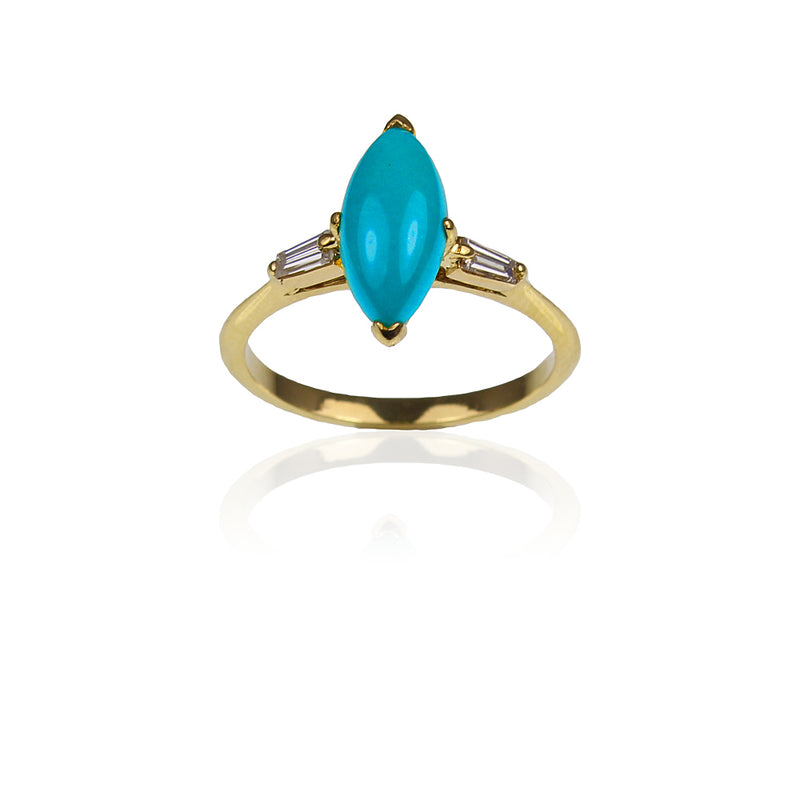 18ct Turquoise & Baguette Diamond Ring