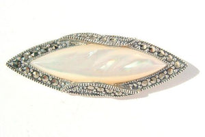 Silver Marcasite Mother of Pearl Brooch/ Pin