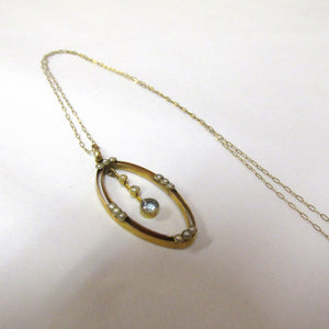 Antique Edwardian 9ct Yellow Gold Pendant Set with Aquamarine and Seed Pearls (SOLD)
