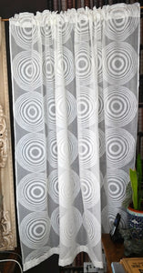 "Circles funky - contemporary Style Madras Cotton Lace Curtain Panel readymade 68""x68"""