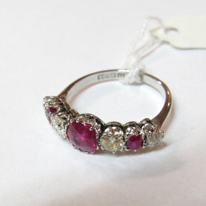 1950s 18ct White Gold, Ruby & Diamond Five Stone Ring