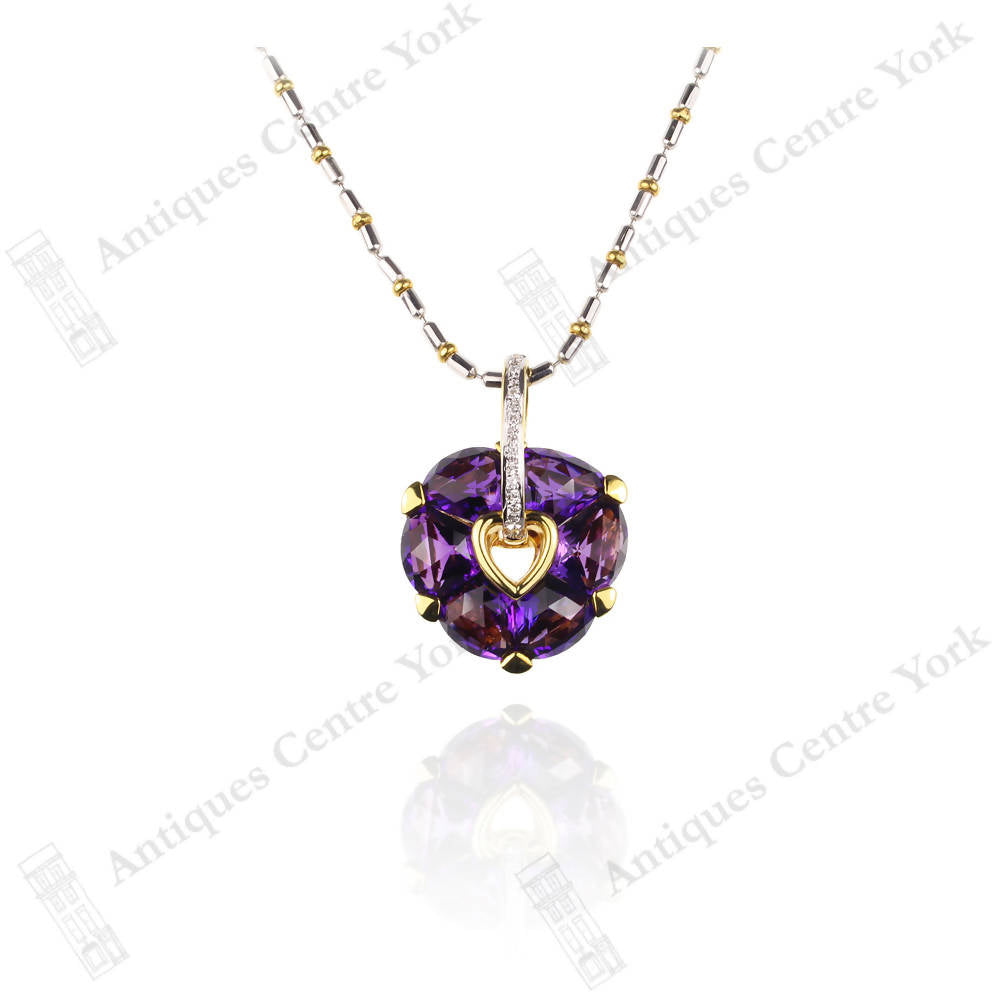 18ct Yellow & White Gold Carved Amethyst & Diamond Heart