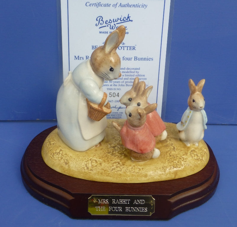 Beswick Limited Edition Beatrix Potter Figurine - Mrs Rabbit And The Four Bunnies (Boxed)