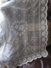 """Charming Hearts"" A Vintage Ivory Cotton Lace Curtain Panel - 30 x 36 Inches- Ready-made"