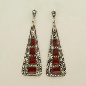 Silver Marcasite Carnelian Art Deco Earrings