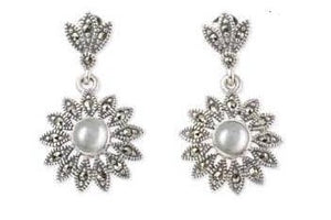 Silver Pearl Marcasite Earrings