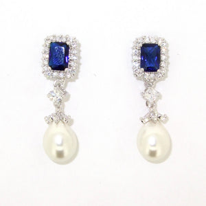 Sapphire earrings Crystal Silver