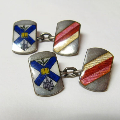 Vintage 1920s Silver and Enamel College Cufflinks