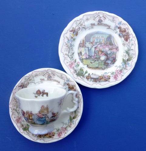 Royal Doulton Brambly Hedge Miniature Trio - Teacup, Saucer and Plate - The Birthday by Jill Barklem