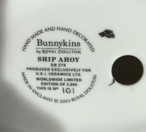Royal Doulton Ship Ahoy Bunnykins DB279 Limited Edition Made in England