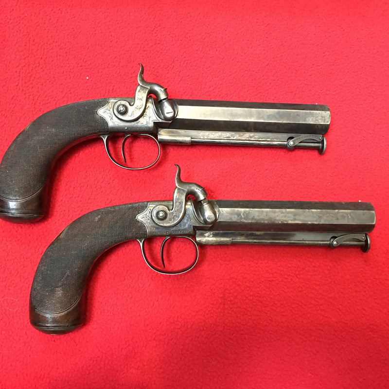 Cased Pair of 19th Century Percussion Belt Pistols by C & H Egg of London