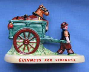 Vintage 1950's Guinness Carltonware Ceramic Horse & Cart/Drayman Figure/Guinness For Strength