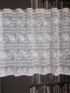 "Rue de France white 18"" cafe curtain bris-bise valance panelling by the metre"