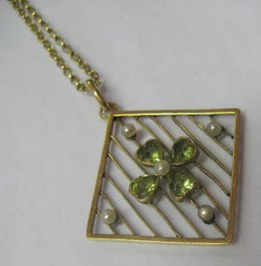 Edwardian 15ct Gold Seed Pearl and Peridot Pendant