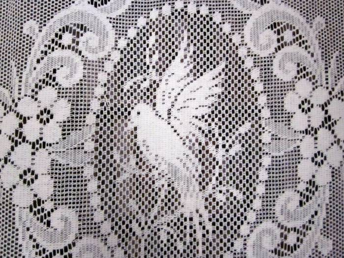 Doves- Victorian Style white Cotton Lace Curtain Panelling Sold By The Metre - 54 inches wide