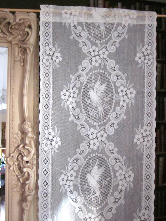 """Lovebirds Cameo"" Period white Cotton Lace Curtain Panel readymade 23""x 37"""