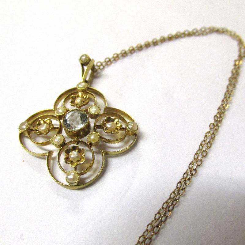 Antique Edwardian Seed Pearl and Aquamarine Pendant