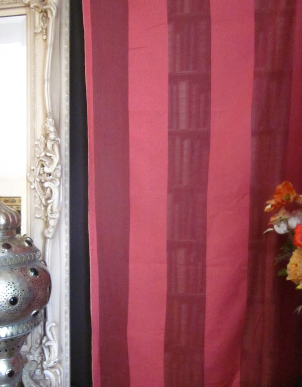 """Terese stripe"" Antique classic earth red Madras Cotton Lace Curtain Panelling - 48 Inches wide cut from roll"