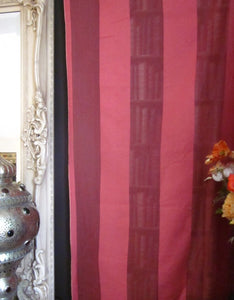 """Terese stripe"" Antique classic earth red Madras Cotton Lace Curtain Panel- 48""x 74""readymade"