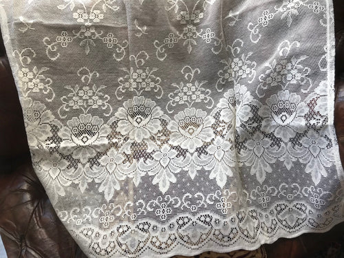 Victorianna Style Cream Cotton Lace Curtain Panel Ready To Hang - 35