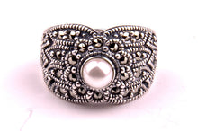 Pearl Marcasite Silver Ring