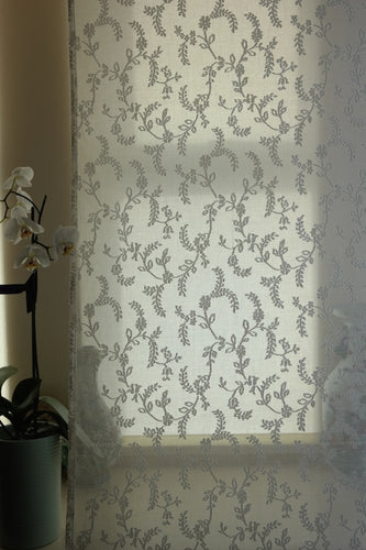 Anna Sprig Cream Madras Cotton Lace Curtain Panelling length 2.5-m long