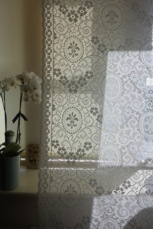 "Fleur de Lys - c1910 antique white Cotton Lace Curtain Panel 60"" x 85"""