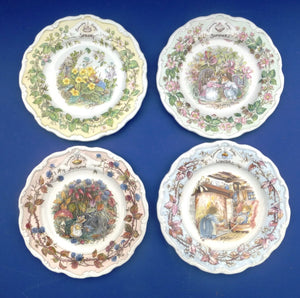 Royal Doulton Brambly Hedge Set of 4 Wall Plates - The Seasons - Spring, Summer, Autumn, Winter